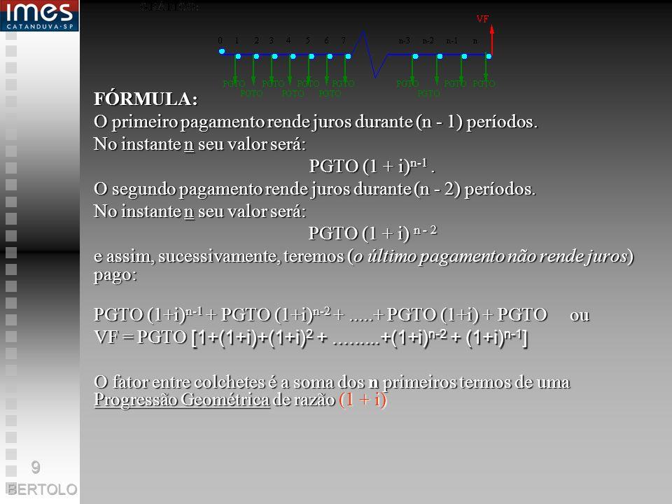 [1+(1+i)+(1+i)2 + .........+(1+i)n-2 + (1+i)n-1]